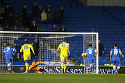 Brighton striker, Tomer Hemed (10) scores a penalty 1-0  during the Sky Bet Championship match between Brighton and Hove Albion and Leeds United at the American Express Community Stadium, Brighton and Hove, England on 29 February 2016. Photo by Phil Duncan.