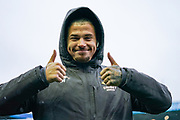 Leeds United midfielder Kalvin Phillips (23) gives the thumbs up after arriving at the ground during the EFL Sky Bet Championship match between Sheffield Wednesday and Leeds United at Hillsborough, Sheffield, England on 26 October 2019.