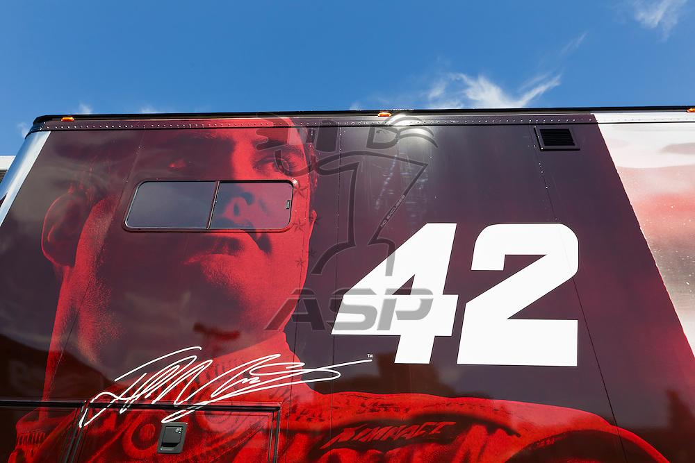 LAS VEGAS, NV - MAR 08, 2012:  The NASCAR Sprint Cup hauler of Juan Pablo Montoya (42) waits to enter the Las Vegas Motor Speedway before the running of the Kobalt Tools 400 race in Las Vegas, NV.