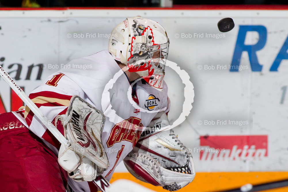 05 December 2012: goalie Mitch Gillam (1) of the Chiefs   during a game between the Chilliwack Chiefs and the Coquitlam Express at  Prospera Centre, Chilliwack, BC.    Final Score: Chilliwack 2  Coquitlam 3   ****(Photo by Bob Frid - All Rights Reserved 2012): mobile: 778-834-2455 : email: bob.frid@shaw.ca ****