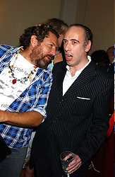 Left to right, artist  JULIAN SCHNABEL and musician MICK JONES at a party to celebrate the publication of Strangeland by artist Tracey Emin at 33 Portland Place, London W1 ON 21ST OCTOBER 2005.<br /><br />NON EXCLUSIVE - WORLD RIGHTS