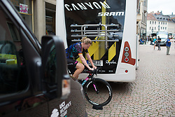 Mieke Kröger (GER) of CANYON//SRAM Racing warms up for Stage 5 of the Lotto Thuringen Ladies Tour - a 108.3 km road race, starting and finishing in Greiz on July 17, 2017, in Thuringen, Germany. (Photo by Balint Hamvas/Velofocus.com)