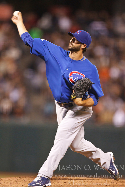August 9, 2010; San Francisco, CA, USA;  Chicago Cubs relief pitcher Justin Berg (64) pitches against the San Francisco Giants during the sixth inning at AT&T Park.