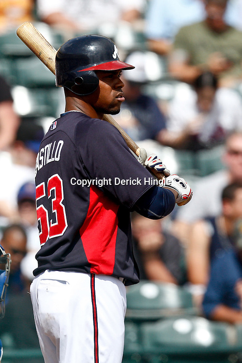 March 5, 2011; Lake Buena Vista, FL, USA; Atlanta Braves catcher Wilkin Castillo (53) during a spring training exhibition game against the New York Mets at Disney Wide World of Sports complex.  Mandatory Credit: Derick E. Hingle