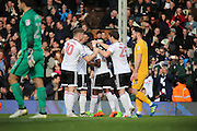 Fulham striker Sone Aluko (24) celebrating after scoring with team mates 1-0 during the EFL Sky Bet Championship match between Fulham and Preston North End at Craven Cottage, London, England on 4 March 2017. Photo by Matthew Redman.