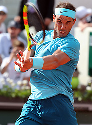 June 1, 2018 - Paris, France - RAFAEL NADAL of Spain returns the ball to opponent Guido Pella of Argentina during their second-round match of the French Tennis Open 2018 at Roland Garros. Nadal won 6-2, 6-1, 6-1. (Credit Image: © Maya Vidon-White via ZUMA Wire)