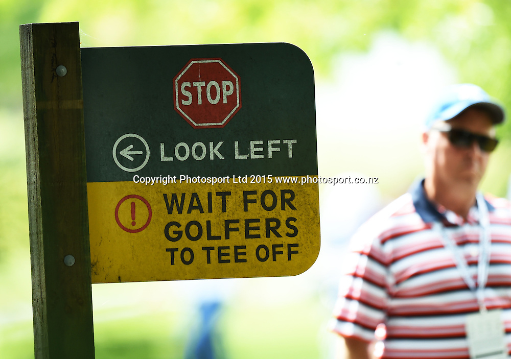 Sign during round one of the 2015 BMW New Zealand Golf Open, Millbrook Resort, Arrowtown, New Zealand Thursday 12 March 2015. Copyright Photo: Andrew Cornaga / www.photosport.co.nz