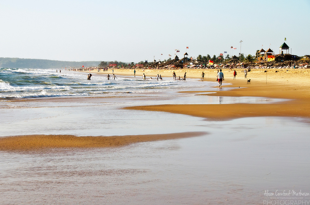 Candolim Beach, Goa, India, is a popular holiday destination on the Indian coast.