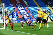Kyle Dempsey of Carlisle United (centre, number 22) scores his team's second goal during the Sky Bet League 2 match at Brunton Park, Carlisle<br /> Picture by Greg Kwasnik/Focus Images Ltd +44 7902 021456<br /> 06/09/2014