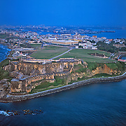 Aerial of El Morro and old San Juan..San Juan, Puerto Rico