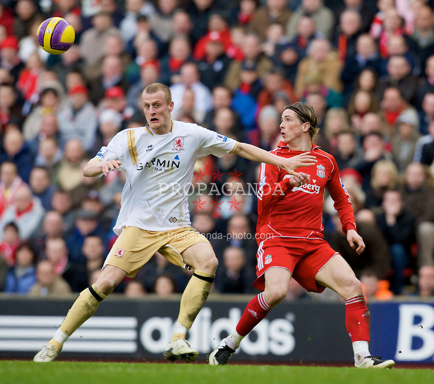 LIVERPOOL, ENGLAND - Saturday, February 23, 2008: Liverpool's Fernando Torres beats Middlesbrough's David Wheater to the ball on his way to scoring his hat-trick goal during the Premiership match at Anfield. (Photo by David Rawcliffe/Propaganda)