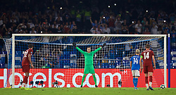 NAPLES, ITALY - Tuesday, September 17, 2019: Liverpool's goalkeeper Adrián San Miguel del Castillo prepares to face a penalty kick from SSC Napoli's Dries Mertens during the UEFA Champions League Group E match between SSC Napoli and Liverpool FC at the Studio San Paolo. (Pic by David Rawcliffe/Propaganda)
