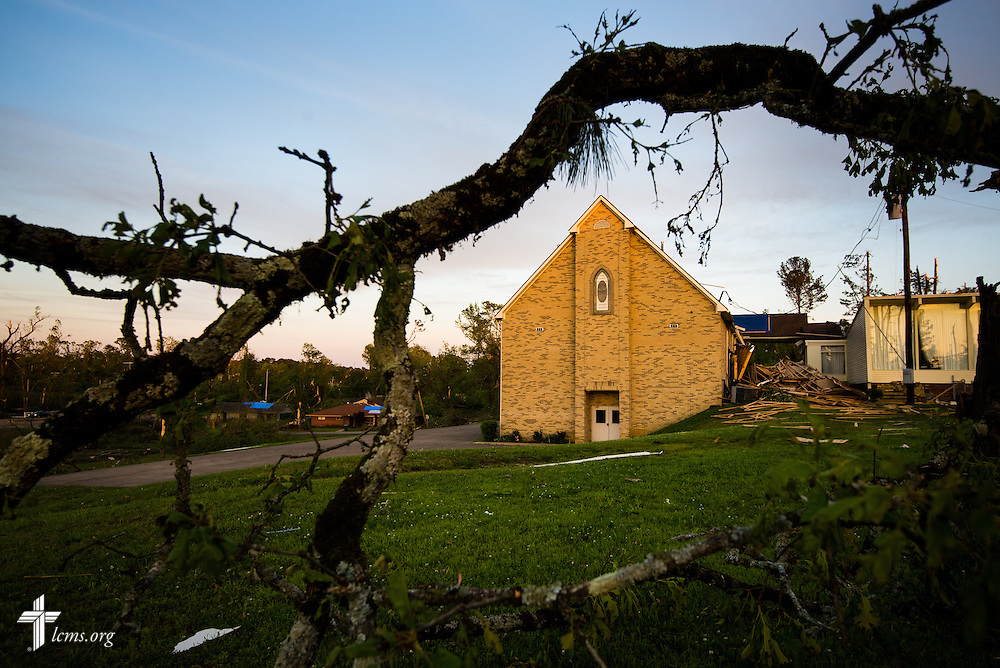 Exterior photograph of Holy Trinity Lutheran Church in Tupelo, Miss. The church suffered catastrophic damage caused by a tornado earlier in the week.  LCMS Communications/Erik M. Lunsford