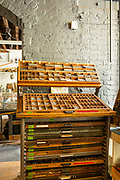 Typecases full of moveable type at Bowne Printers, part of the  South Street Seaport Museum.