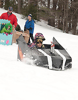 Gilford Parks and Recreation annual cardboard sled derby at Gilford Outing Club Wednesday, March 2, 2011.