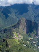 The Incan ruins of Machu Picchu and the small mountain, Huayna Picchu, photographed while climbing Montaña Machu Picchu, near Aguas Calientes, Peru.