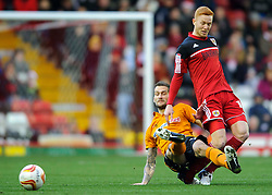 Bristol City Forward Ryan Taylor (ENG) is tackled by Wolves Defender Roger Johnson (ENG) during the first half of the match - Photo mandatory by-line: Rogan Thomson/JMP - Tel: Mobile: 07966 386802 01/12/2012 - SPORT - FOOTBALL - Ashton Gate - Bristol. Bristol City v Wolverhampton Wanderers - npower Championship.