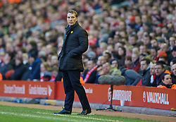 LIVERPOOL, ENGLAND - Sunday, March 8, 2015: Liverpool's manager Brendan Rodgers during the FA Cup 6th Round Quarter-Final match against Blackburn Rovers at Anfield. (Pic by David Rawcliffe/Propaganda)