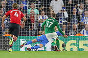 Brighton and Hove Albion striker Glenn Murray (17) sends Southampton goalkeeper Alex McCarthy (1) the wrong way from the penalty spot 2-2 during the Premier League match between Southampton and Brighton and Hove Albion at the St Mary's Stadium, Southampton, England on 17 September 2018.