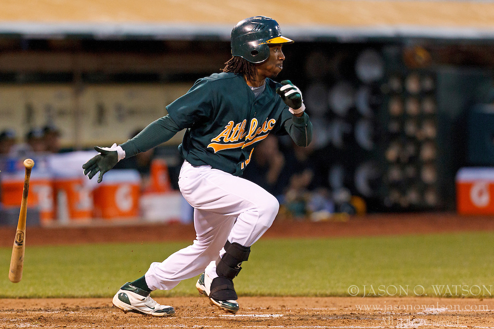 April 9, 2012; Oakland, CA, USA; Oakland Athletics second baseman Jemile Weeks (19) at bat against the Kansas City Royals during the second inning at O.co Coliseum.  Oakland defeated Kansas City 1-0. Mandatory Credit: Jason O. Watson-US PRESSWIRE