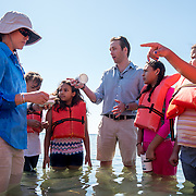 KEY BISCAYNE, FLORIDA, MARCH 22, 2017<br /> Philippe Cousteau Jr  and Cat Morin, a science educator, inspect water samples with students on Crandon Park near  the Marjory Stoneman Douglas Biscayne Nature Center as part of the United Nations World Water Day activities. Cousteau is the Co-Founder and President, EarthEcho International.<br /> (Photo by Angel Valentin/Freelance)