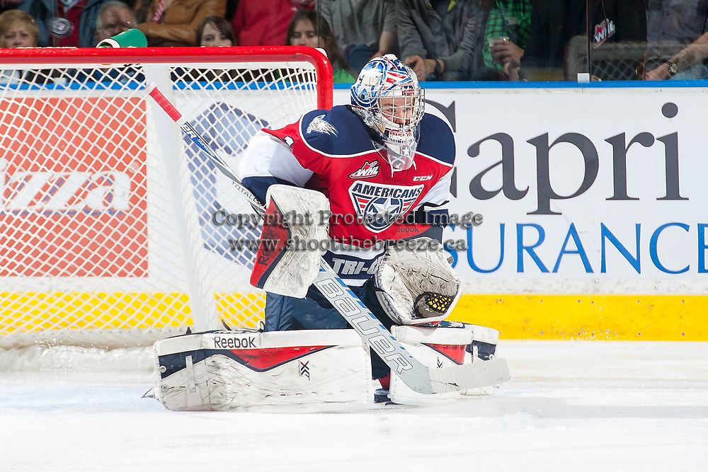 KELOWNA, CANADA - MARCH 27: Eric Comrie #1 of Tri-City Americans defends the net during the first game of round 1 playoffs against the Kelowna Rockets on March 27, 2015 at Prospera Place in Kelowna, British Columbia, Canada.  (Photo by Marissa Baecker/Getty Images)  *** Local Caption *** Eric Comrie;