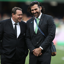 DURBAN, SOUTH AFRICA, 8 October, 2016 - Steve Hansen (Head Coach) of New Zealand with Victor Matfield Supersport rugby commentator during the Rugby Championship match between South Africa and New Zealand at Kings Park in Durban, South Africa. (Photo by Steve Haag)