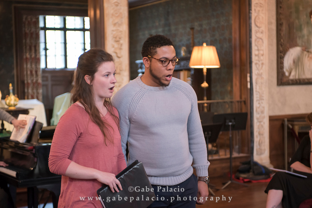 Rehearsals and staff lunch for the Vocal Rising Stars Residency featuring Liv Redpath, Abi Levis, Galeano Salas, Justin Austin, and William Kelley, with distinguished artists Steven Blier and Michael Barrett, at Caramoor in Katonah New York on March 8, 2016. <br /> (photo by Gabe Palacio)