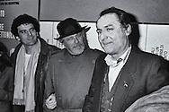Roma   Dicembre 1982.Massimo Troisi, Luciano De Crescenzo, Renzo  Arbore, incontrano  i studenti nell' aula magna dell'università La Sapienza