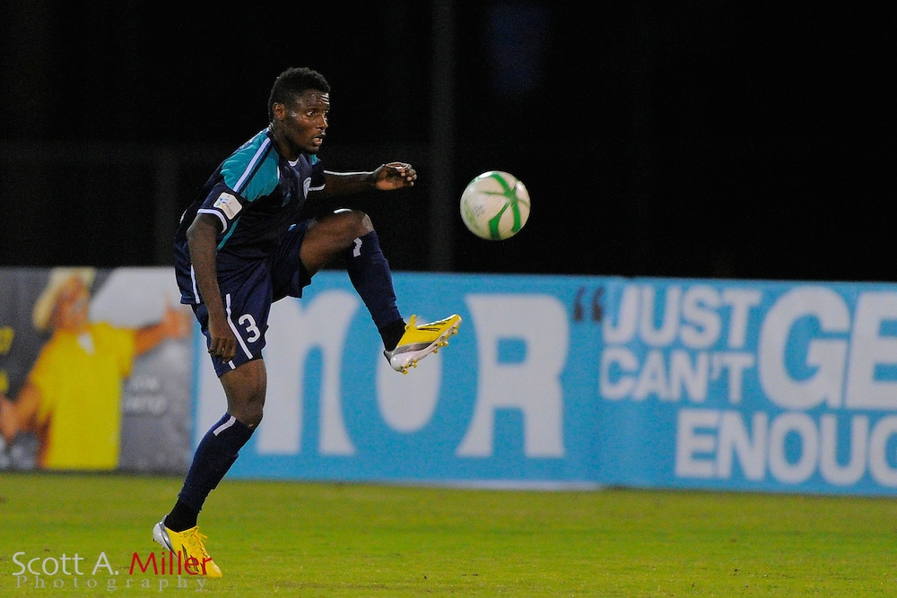 VSI Tampa Bay FC defender Bitielo Jean Jacques (3) during a USL-Pro soccer game against the Dayton Dutch Lions at the Plant City Stadium in Plant City, Florida April 26, 2013. Dayton won 1-0....©2013 Scott A. Miller