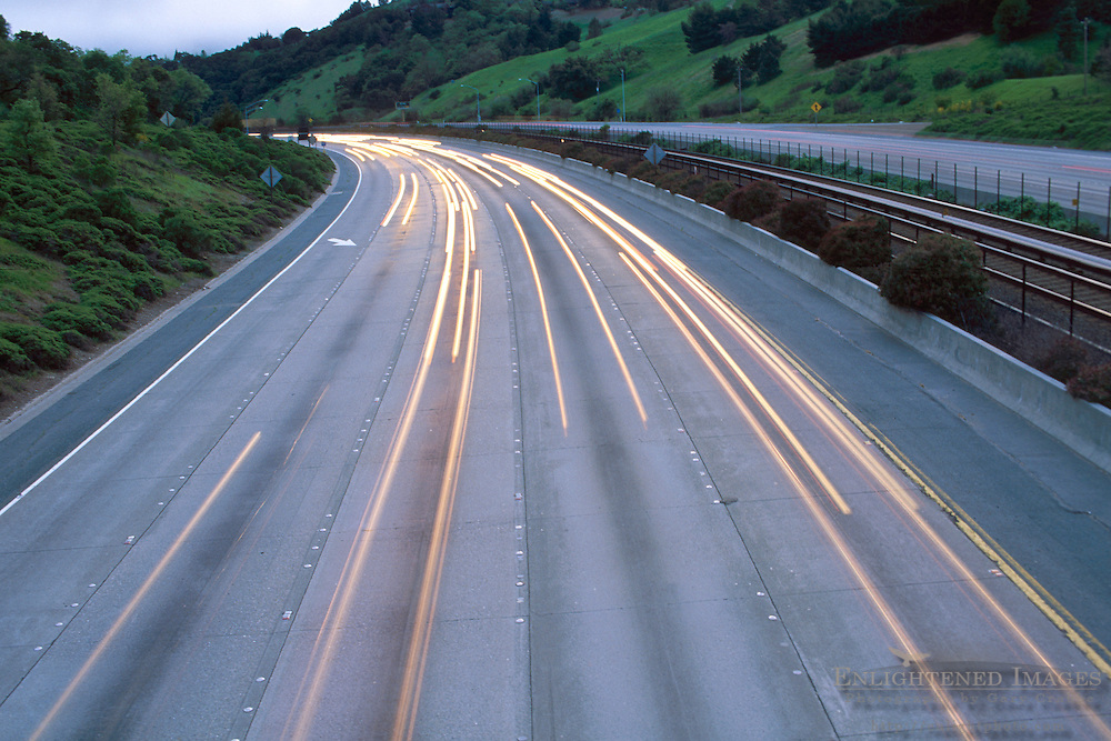 Automobile car headlights on multilane freeway, Orinda, Contra Costa County, California