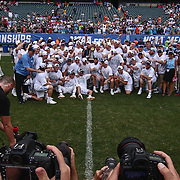 North Carolina players pose for a photo after defeating Maryland 14-13 in overtime during The NCAA Division I NATIONAL CHAMPIONSHIP GAME between North Carolina and Maryland, Monday, May. 30, 2016 at Lincoln Financial Field in Philadelphia, Pa