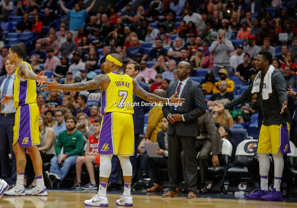 Feb 14, 2018; New Orleans, LA, USA; Los Angeles Lakers guard Isaiah Thomas (7) reacts after a second technical foul is called ejecting him and New Orleans Pelicans guard Rajon Rondo (not pictured) from the game during the first quarter at the Smoothie King Center. Mandatory Credit: Derick E. Hingle-USA TODAY Sports