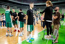 Luka Kraljevic interviewed by Maja Hrvatin during public training session of Slovenian National Basketball team, on August 1, 2016 in Arena Stozice, Ljubljana, Slovenia. Photo by Vid Ponikvar / Sportida
