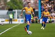Gethin Jones (20) runs forward during the EFL Sky Bet League 2 second leg Play Off match between Mansfield Town and Newport County at the One Call Stadium, Mansfield, England on 12 May 2019.