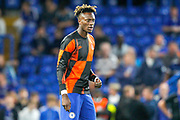 Chelsea forward Tammy Abraham (9) warming up before the Champions League match between Chelsea and Valencia CF at Stamford Bridge, London, England on 17 September 2019.