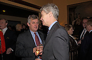 James Hughes-Onslow and Richard Kay, Reception to support the Hyde Park Appeal for Liberty Drives ( a charity which enables people to travel around Hyde Park in electric buggies) in the presence of Prince Michael of Kent. Officers Mess. Household Cavalry Mounted Regiment. Hyde Park Barracks. 30 November 2004. ONE TIME USE ONLY - DO NOT ARCHIVE  © Copyright Photograph by Dafydd Jones 66 Stockwell Park Rd. London SW9 0DA Tel 020 7733 0108 www.dafjones.com