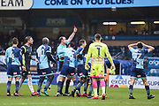 Referee Carl Boyeson gives the red card to Wycombe Wanderers Midfielder Luke O'Nien (17) during the EFL Sky Bet League 2 match between Wycombe Wanderers and Carlisle United at Adams Park, High Wycombe, England on 3 February 2018. Picture by Stephen Wright.