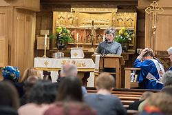 24 November 2019, Geneva, Switzerland: Vicky Maltby leads intercessions during Sunday service at the Emmanuel Episcopal Church, Geneva.