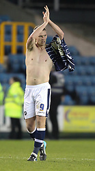 Millwall's Steve Morison thanks the fans after their 1-0 over Ipswich Town - Photo mandatory by-line: Robin White/JMP - Tel: Mobile: 07966 386802 18/01/2014 - SPORT - FOOTBALL - The Den - Millwall - Millwall v Ipswich Town - Sky Bet Championship