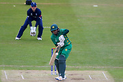 Pakistan womens cricket player Ayesha Zafar plays the ball onto the on side during the ICC Women's World Cup match between England and Pakistan at the Fischer County Ground, Grace Road, Leicester, United Kingdom on 27 June 2017. Photo by Simon Davies.
