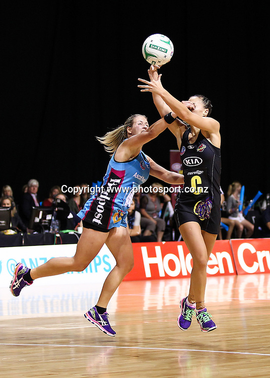 Southern Steel's Phillipa Finch competes with Waikato BOP Magic's Courtney Tairi for the ball during the ANZ Netball Championship - Waikato BOP Magic v Southern Steel at Claudelands Arena, Hamilton on Monday 17 March 2014. Photo: Bruce Lim / www.photosport.co.nz