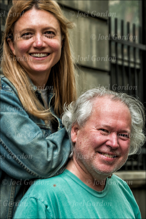 Julie and Russell married couple outdoors at Perry Street Block Fair in Greenwich Village.