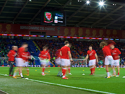 CARDIFF, WALES - Monday, October 9, 2017: Wales players during the pre-match warm-up before the 2018 FIFA World Cup Qualifying Group D match between Wales and Republic of Ireland at the Cardiff City Stadium. (Pic by Paul Greenwood/Propaganda)