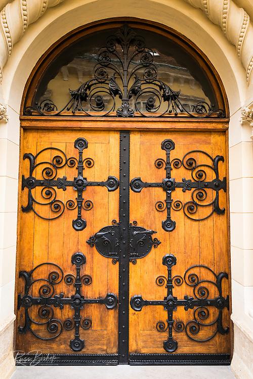 Ornate door in old town Gradec, Zagreb, Croatia