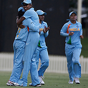 Jhulan Goswami celebrates with team mate Mithali Raj after an Australian wicket during the ICC Women's World Cup Cricket play off for third place between Australia and India at Bankstown Oval, Sydney, Australia on March 21, 2009. India beat Australia by three wickets. Photo Tim Clayton