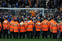 Unhappy Wolverhampton Wanderers Fans invade the pitch after the final whistle and are pushed back by Stewards and Police 2012/13<br />Wolverhampton Wanderers V Burnley (1-2) 27/04/13<br />NPower Championship <br />Photo: Robin Parker Fotosports International