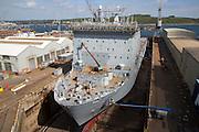 RFA Mounts Bay ship in dry dock, Falmouth, Cornwall, England, UK