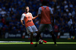 Luke Shaw of Manchester United in action during the warm up - Rogan Thomson/JMP - 07/08/2016 - FOOTBALL - Wembley Stadium - London, England - Leicester City v Manchester United - The FA Community Shield.