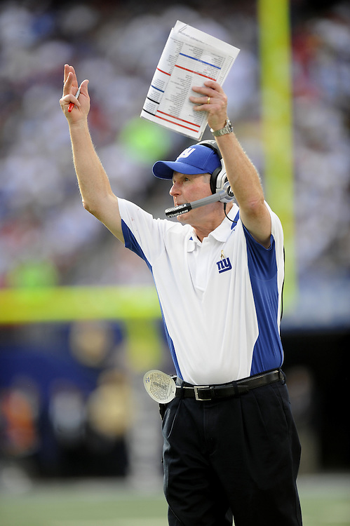 EAST RUTHERFORD, NJ - SEPTEMBER 13: Tom Coughlin head coach of the New York Giants gestures from the sidelines against the Washington Redskins during their game on September 13, 2009 at Giants Stadium in East Rutherford, New Jersey. (Photo by Rob Tringali) *** Local Caption *** Tom Coughlin